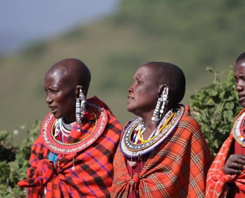 a trio of Maasai in Ngorongoro