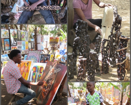 wood carvers and painters at Mto Wa Mbu