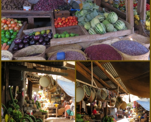 colorful shots of produce and goods for sale in the mto wa mbu market