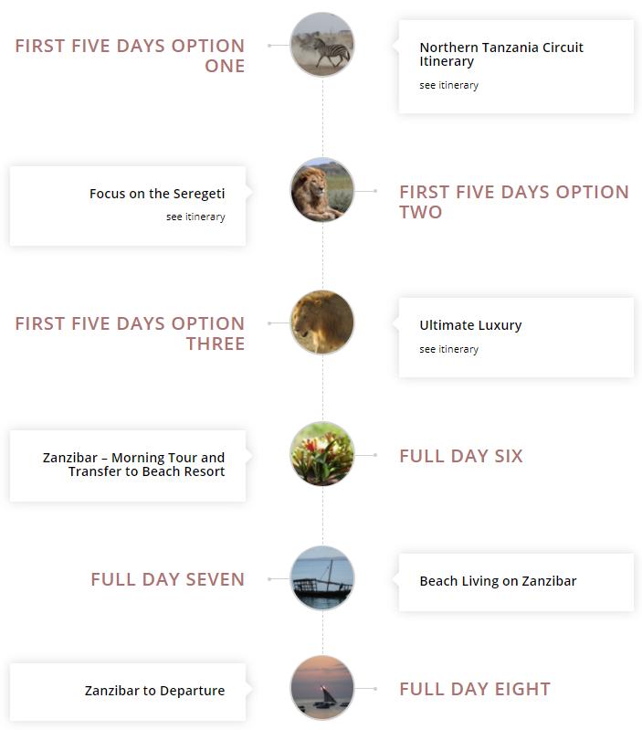 details of the safari itinerary including the Serengeti and Zanzibar
