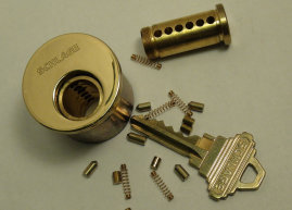 This is a disassembled deadbolt cylinder