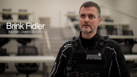 """YouTube video thumbnail with text, """"Brink Fidler: Founder - Defend Systems."""""""