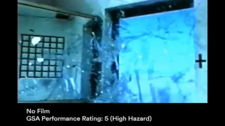 YouTube video thumbnail showing dangerous flying glass on window without film