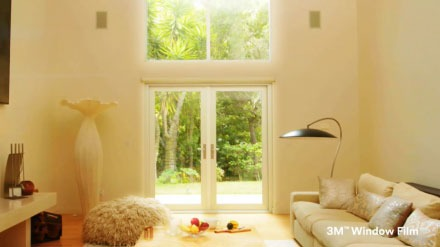 YouTube video thumbnail of sunny two-story windows viewed from living room