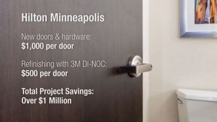 """YouTube video thumbnail with text, """"Hilton Minneapolis - Total Project Savings (with 3M DI-NOC vs. new doors & hardware): Over $1 million."""""""
