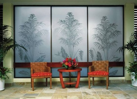Frosted window tint with decorative palms