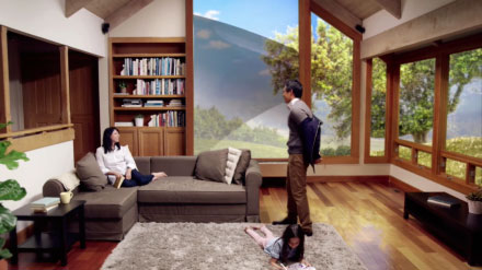 YouTube video thumbnail of family gathered in room with large scenic window