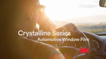 """YouTube video thumbnail with text, """"Crystalline Series Automotive Window Film 3M"""""""