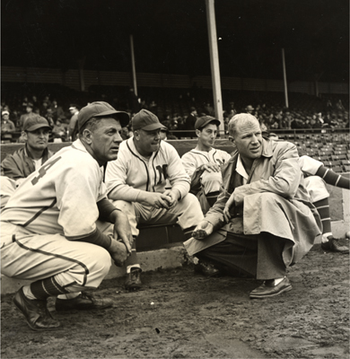 Charlie Grimm, Red Smith and Bill Veeck Jr with the Brewers in 1943