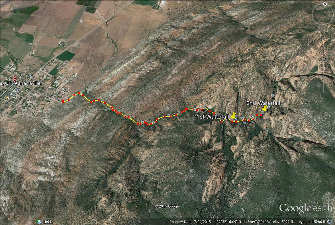 Kanarra Falls trail map