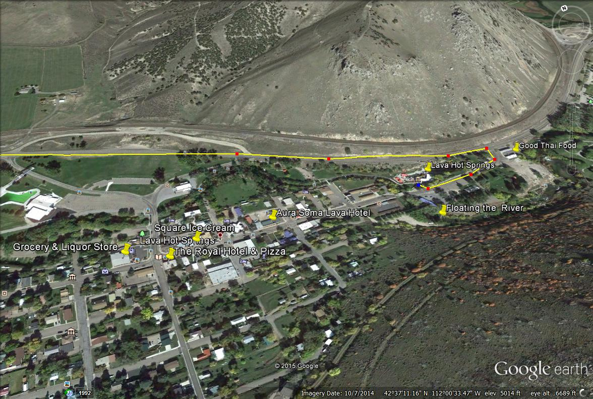 Lava Hot Springs, Idaho town map