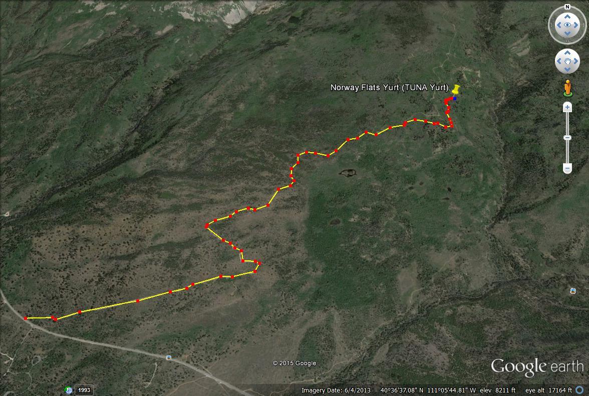 The Norway Flats Yurt trail map, TUNA Yurt, Yurts of Utah