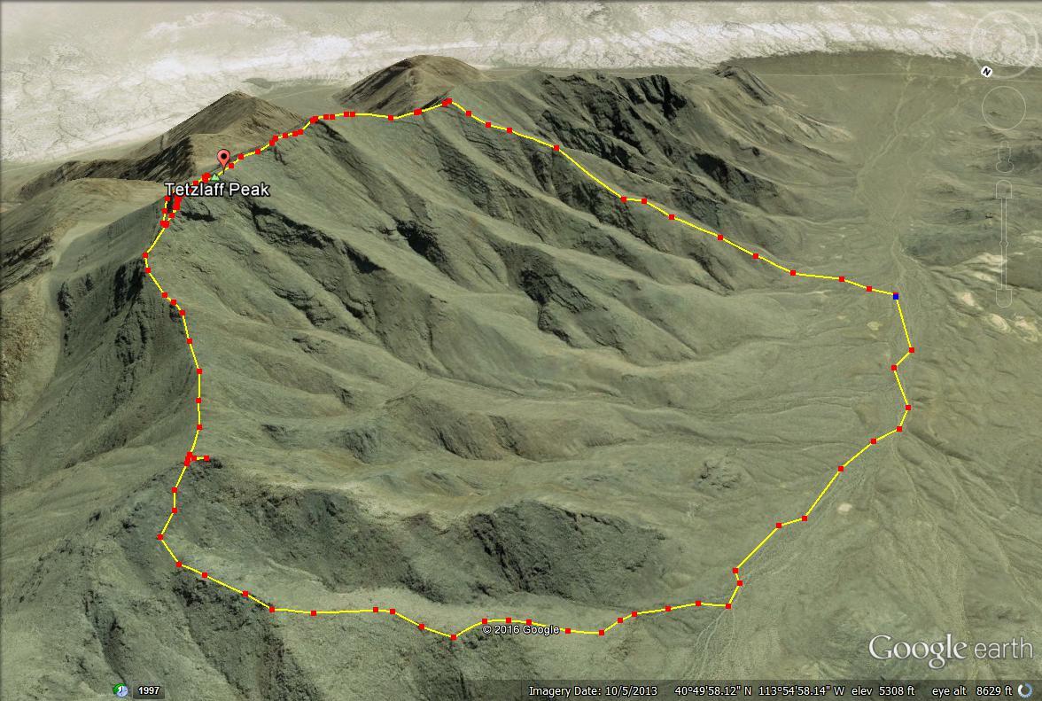Tetzlaff Peak, Tetzlaff Peak hiking guide, Silver Island Mountains, Tetzlaff Peak map