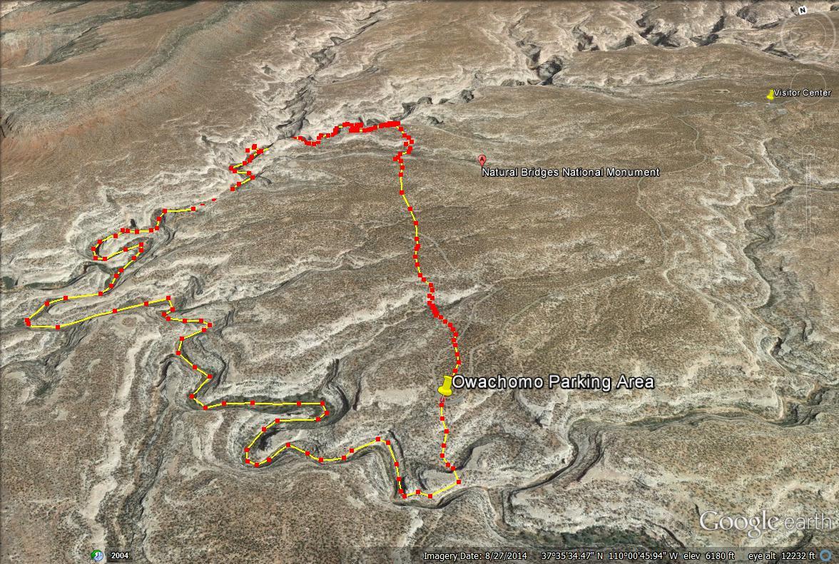 Natural Bridges National Monument, Utah. Loop Trail Natural Bridge Map