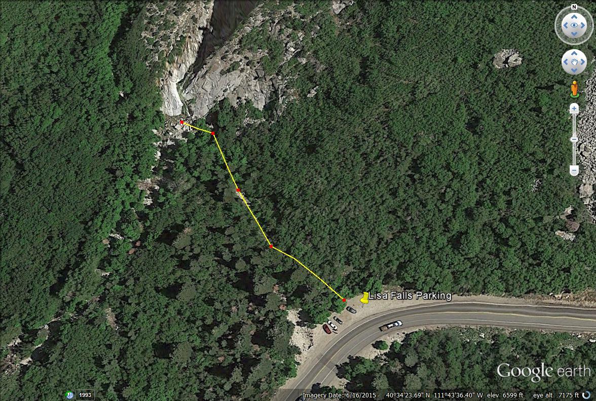 Lisa Falls trail map, Little Cottonwood Canyon, Utah