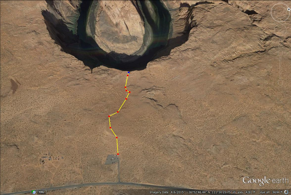 Horseshoe Bend, Page, Arizona, trail map