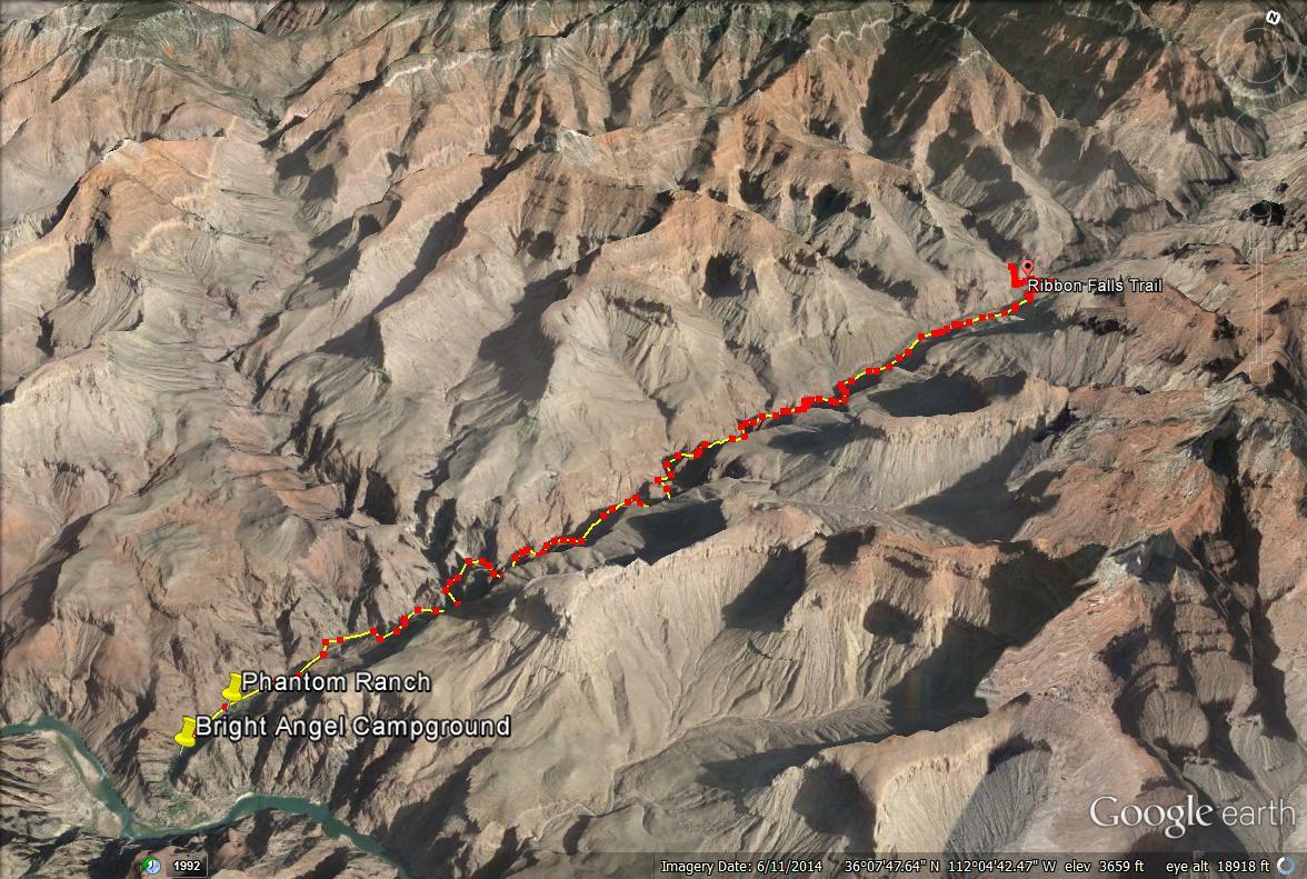 Ribbon Falls trail map, Grand Canyon National Park