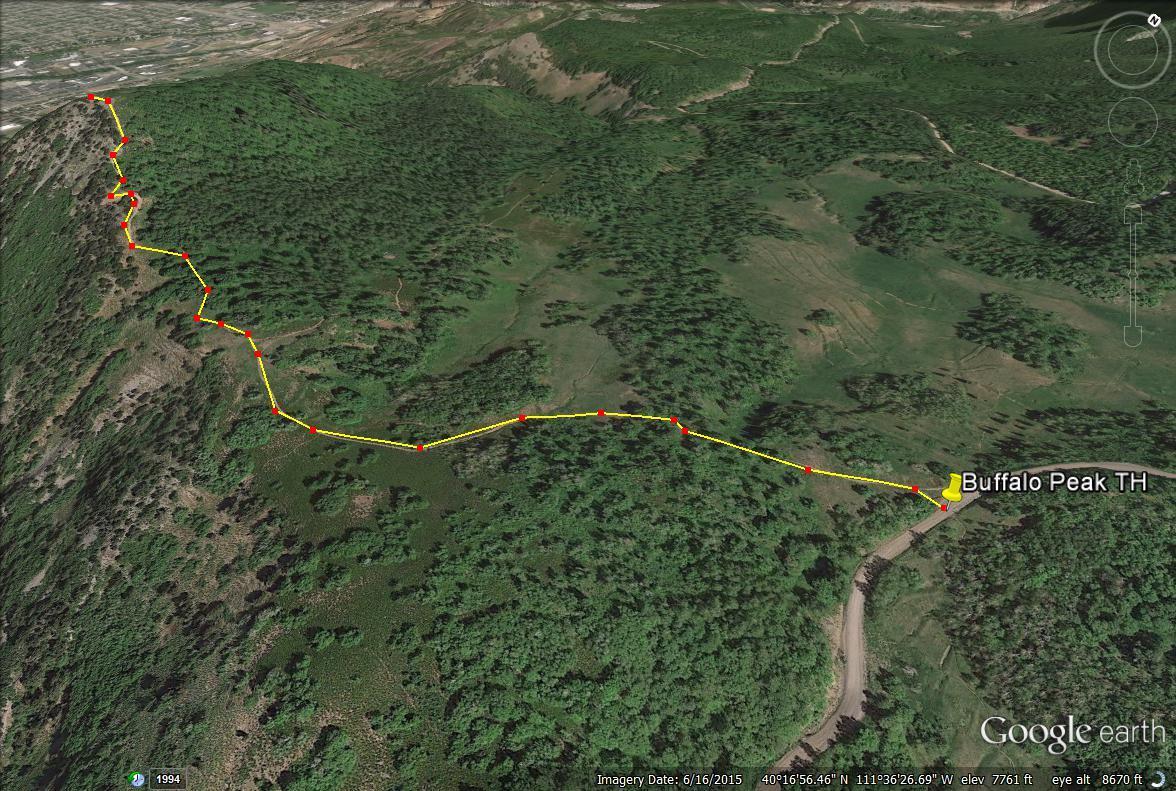 Buffalo Peak, Utah trail map