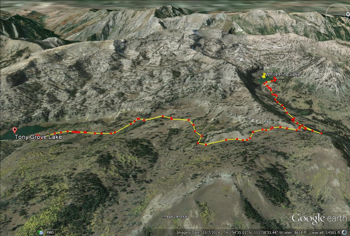 White Pine Lake, Logan Canyon trail map
