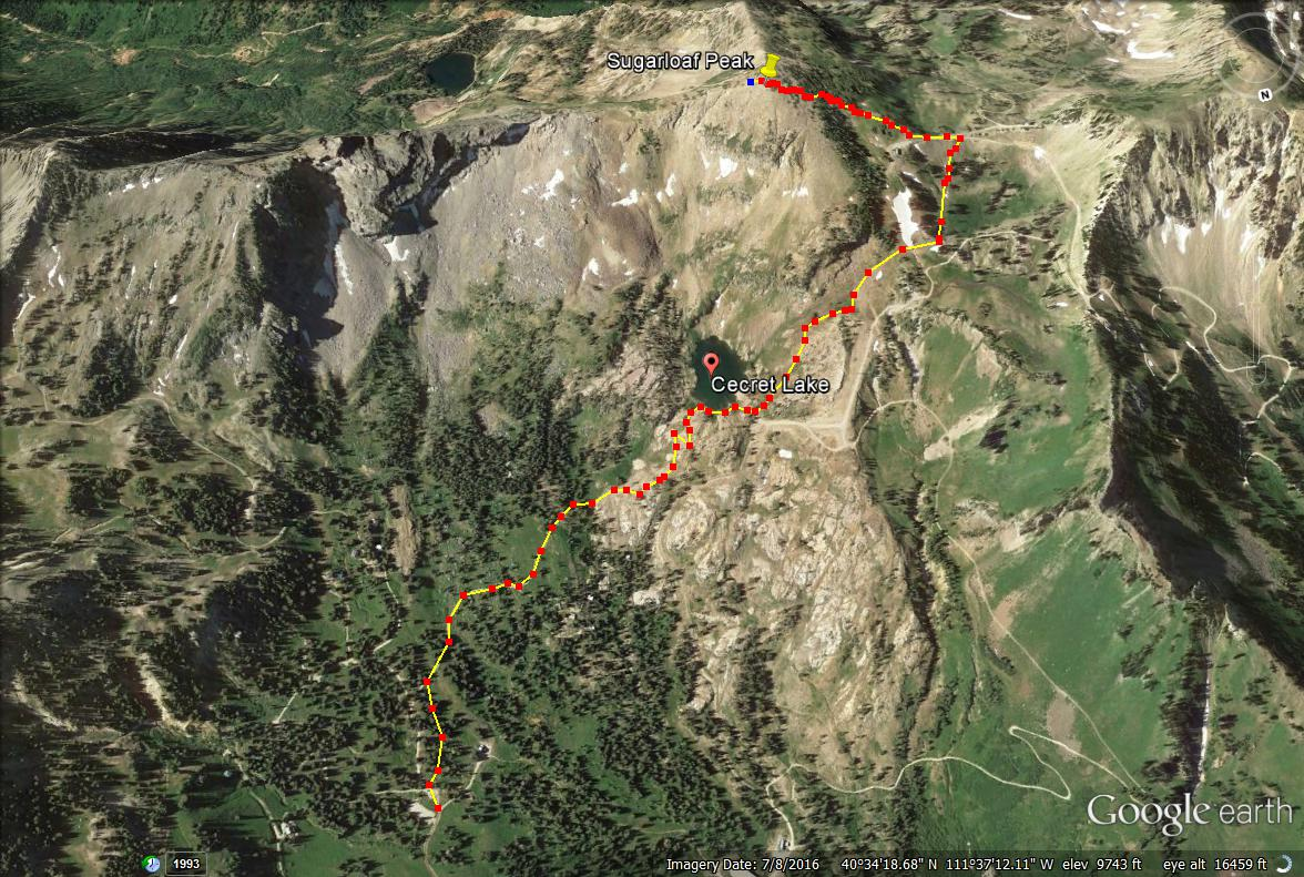 Cecret Lake & Sugarloaf Peak trail map