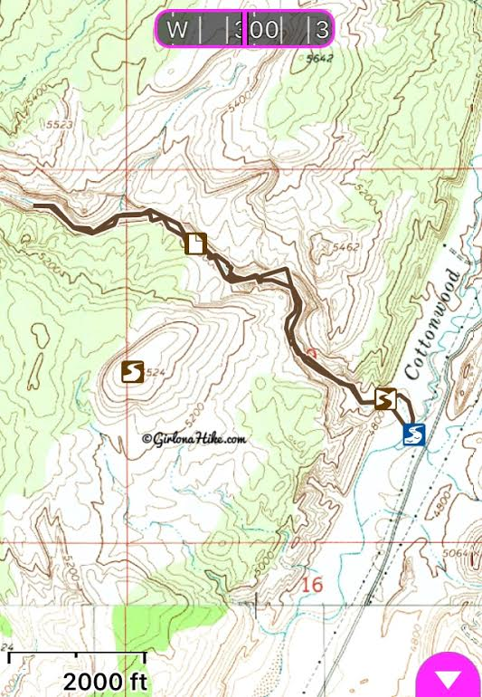 Lower Hackberry Canyon Narrows trail map