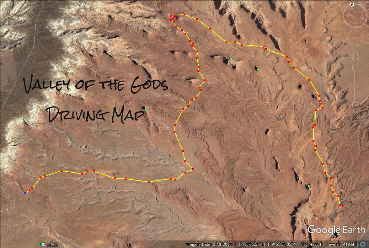 Valley of the Gods driving map