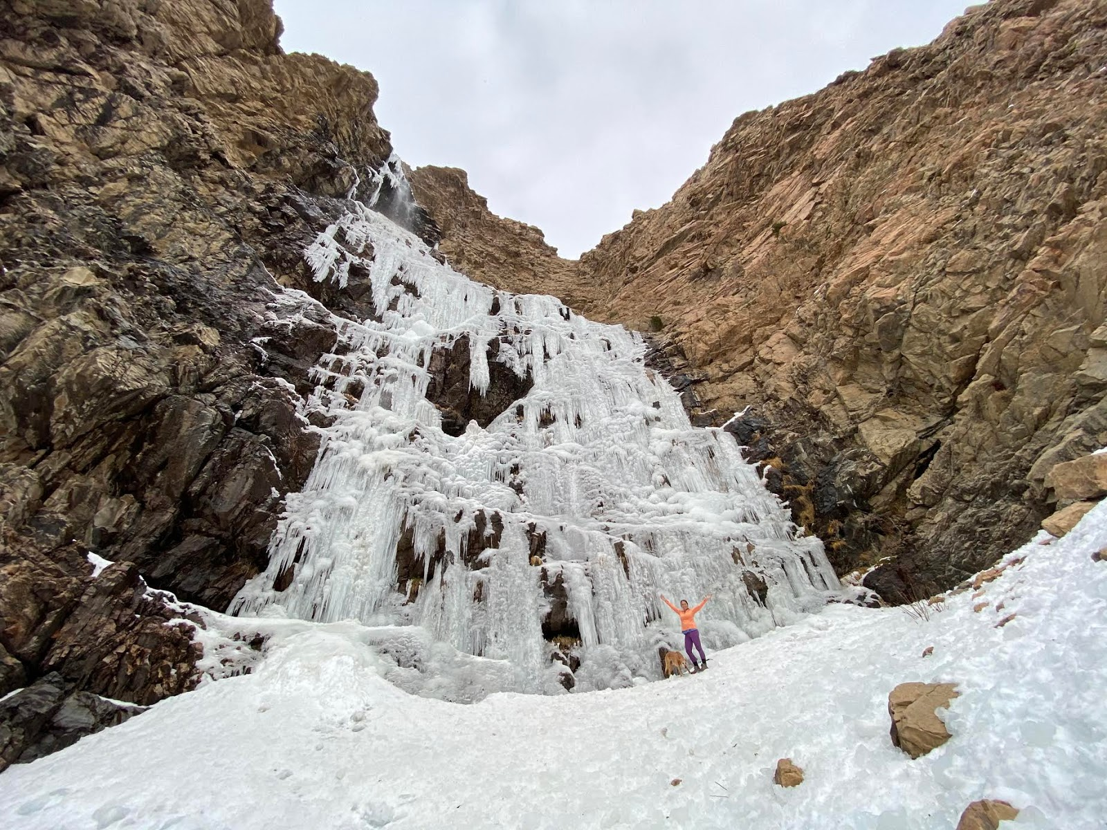 Hiking Waterfall Canyon in Ogden, Utah, Hiking in Utah with Dogs, Frozen Waterfalls in Utah, Ogden BST Christmas Tree