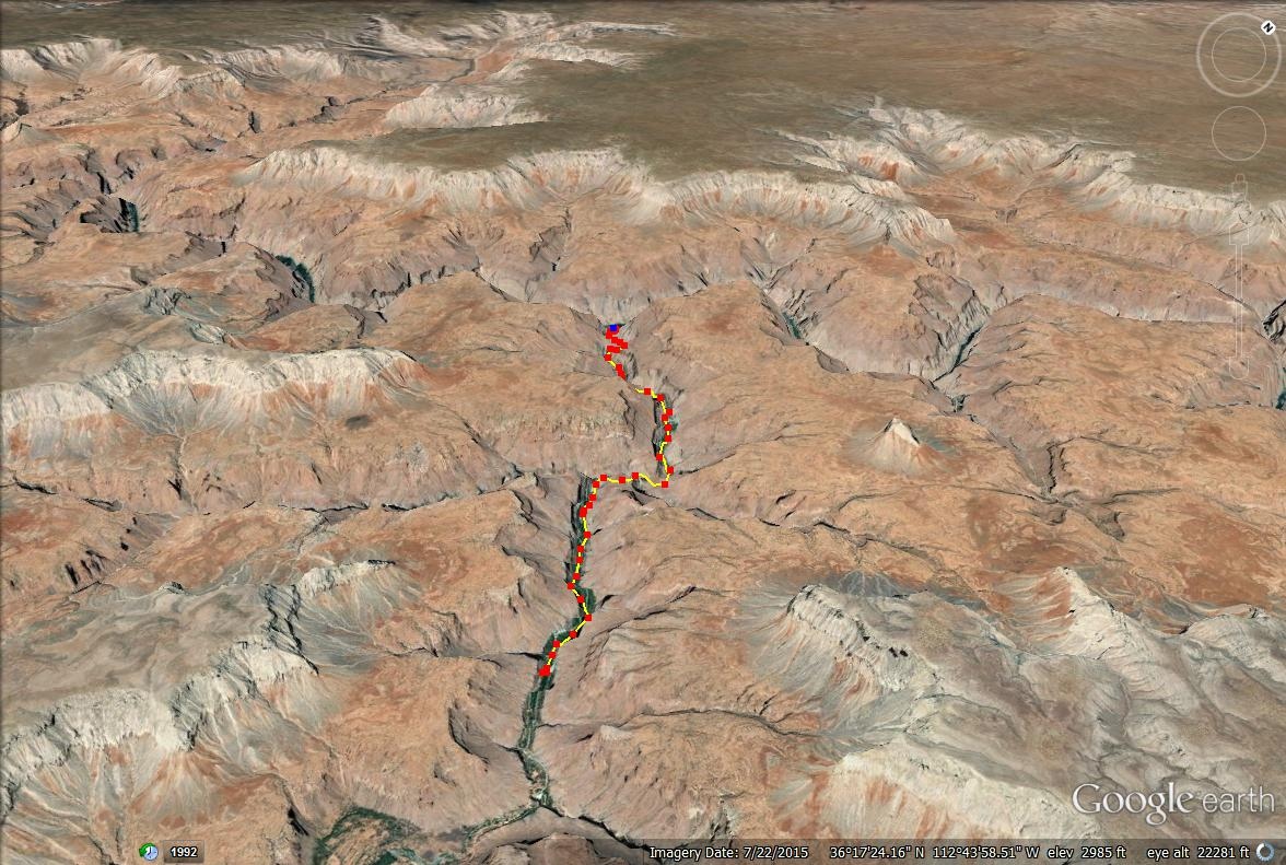 Hiking from Mooney Falls to the Colorado River! trail map
