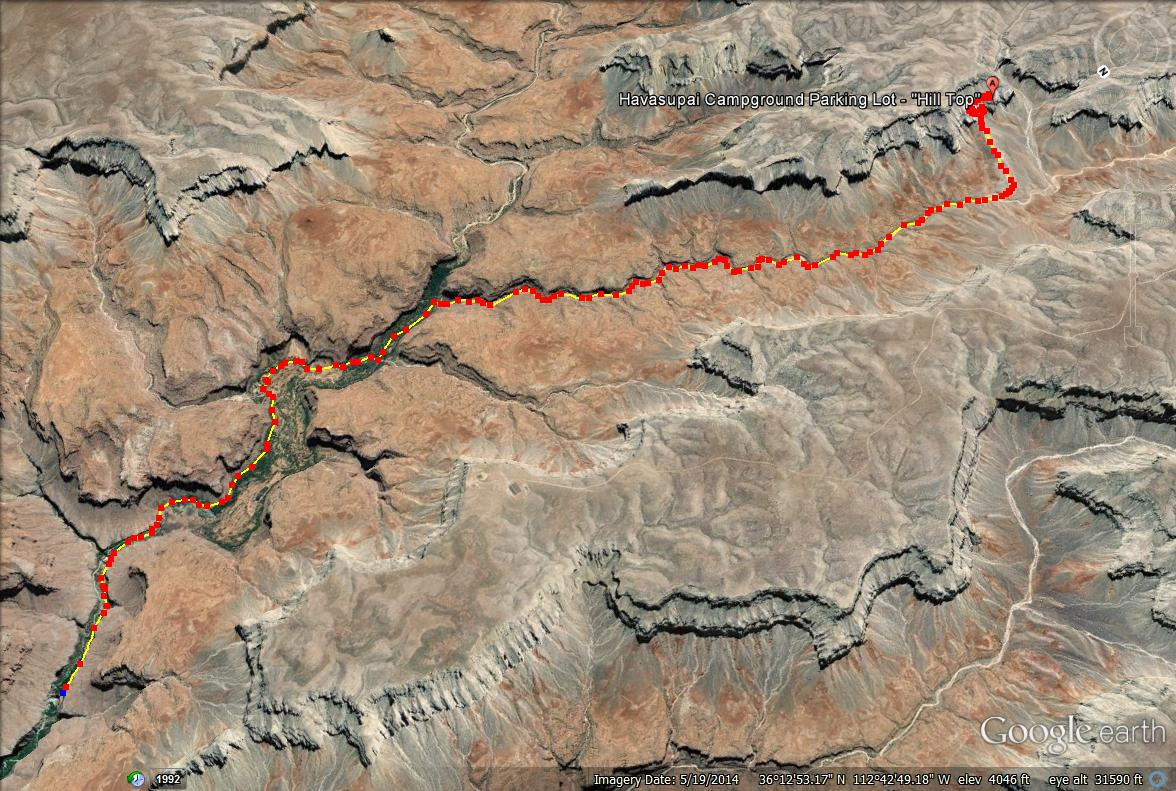 Havasu Falls trail map, Arizona