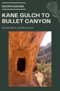 Backpacking Kane Gulch to Bullet Canyon, Cedar Mesa