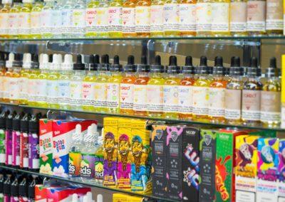 E liquid stand inside a smoke shop