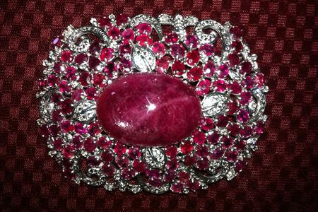 Ruby and White Topaz pin