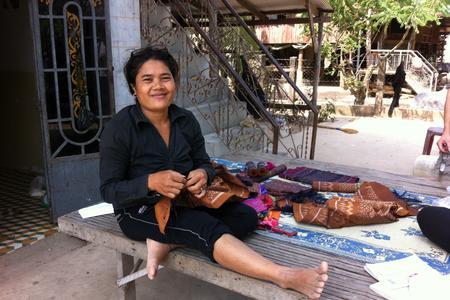 Cambodian woman weaving