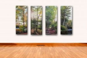 Four panels, 16 x 40 inches each.