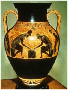 Exekias, Achilles and Ajax playing checkers, c. 550 BCE.