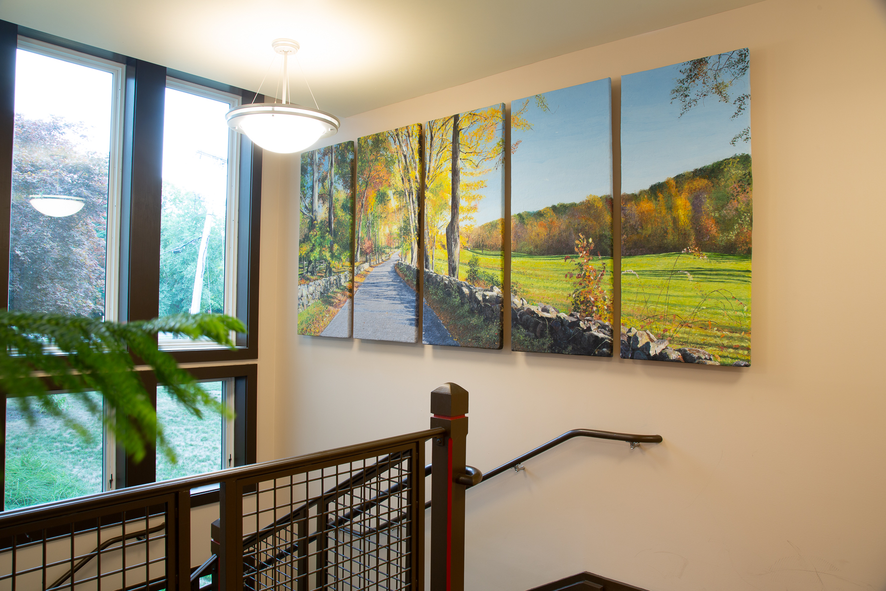 Adding Biophelia inspired art to office design ensures a soothing work environment.