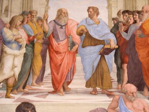 Italy Rome Vatican School of Athens Close up Plato and Aristotle
