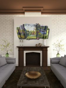 fireplace with brick wall and sofas