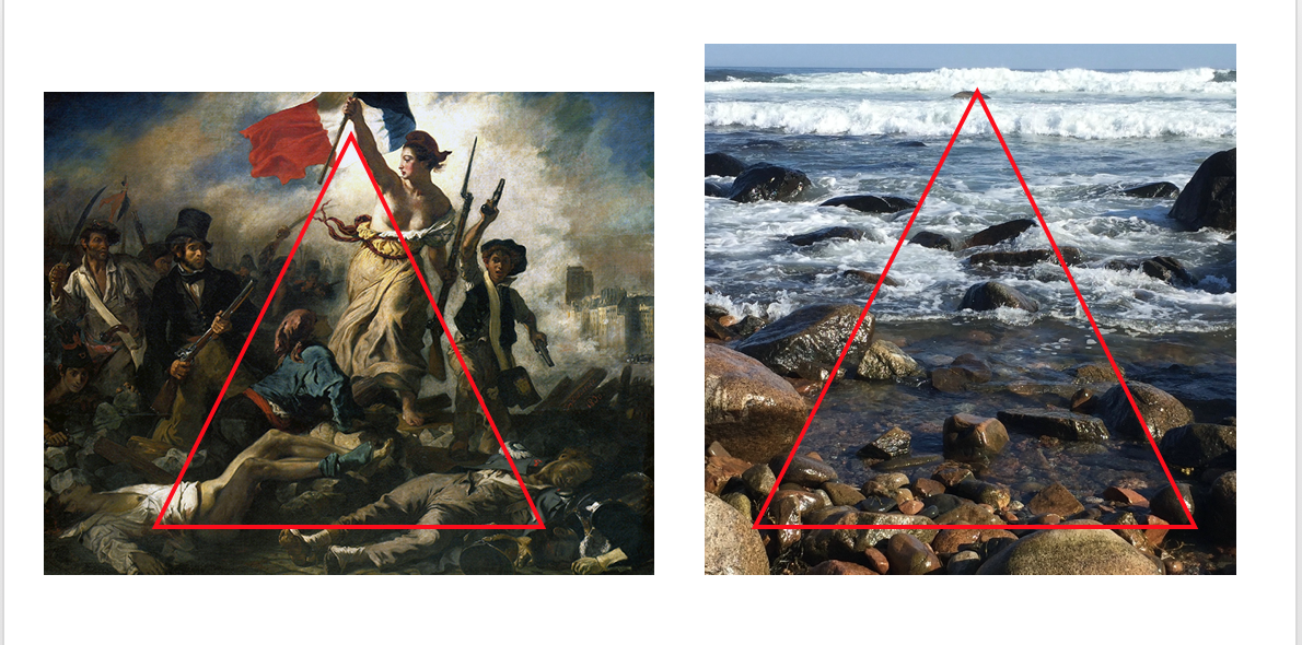 Delacroix's Liberty Leading the People influences Rocks and Water Composition.