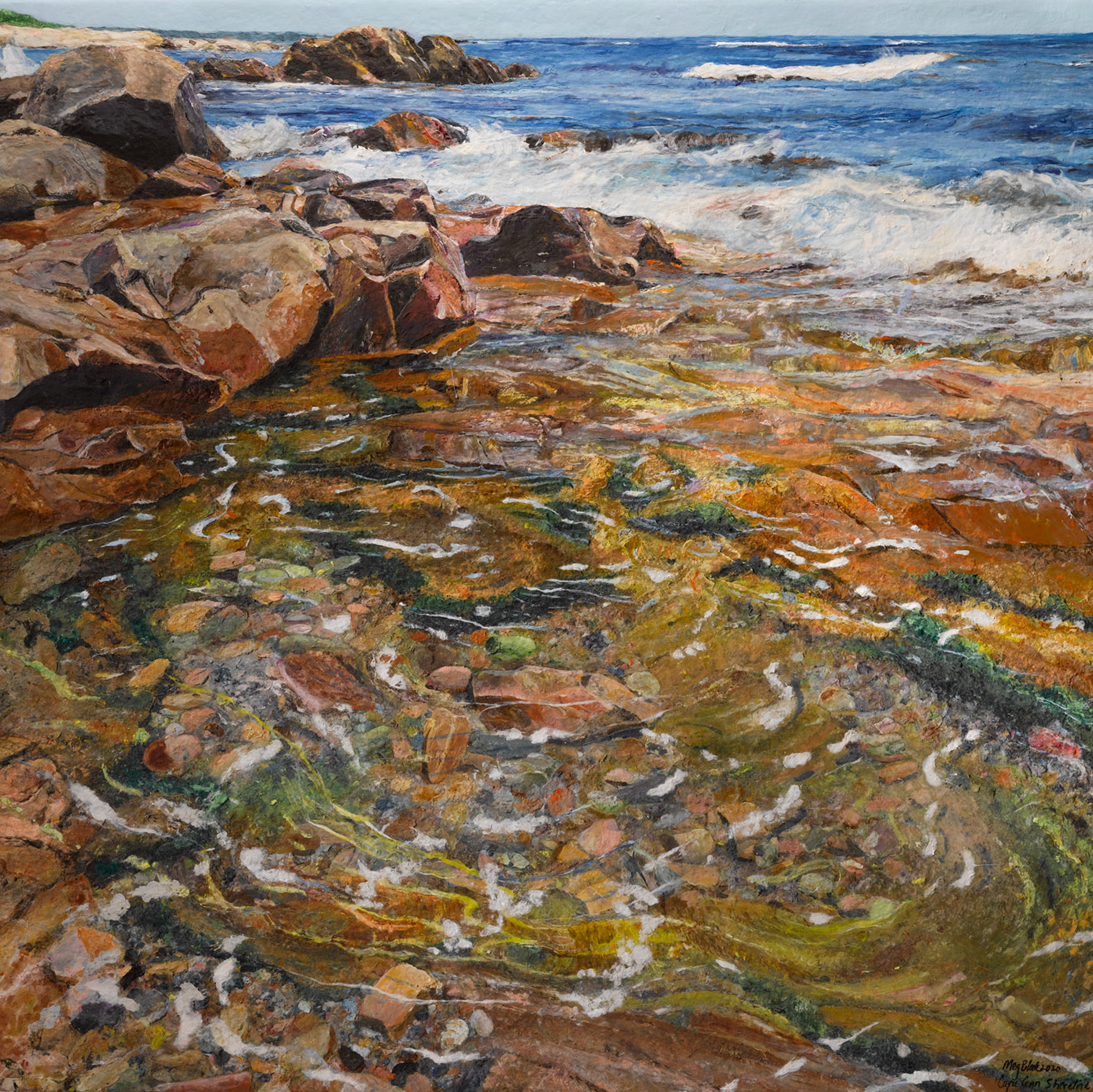 Using over-beaten abaca to my seascape painting of the Cape Ann coastline.