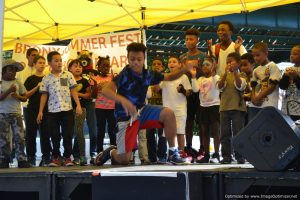 Young dancers onstage at Bronx Summer Fest 2016.