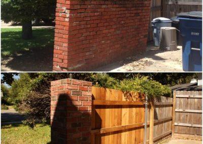 Brick column with fence