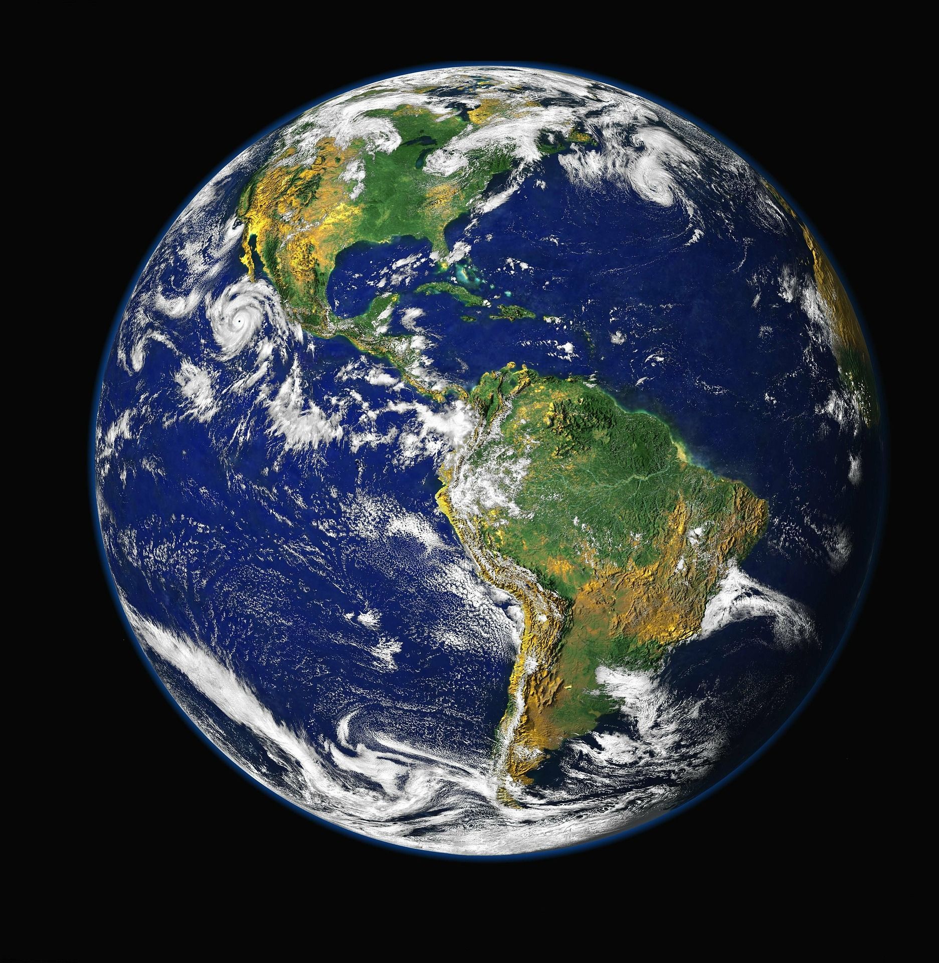 image of the earth western hemisphere the Blue Planet
