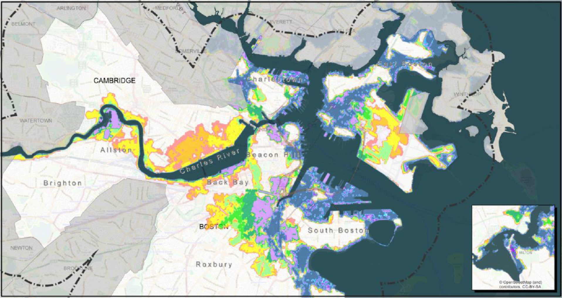 Boston Harbor Flood Exceedance Probabilities Map