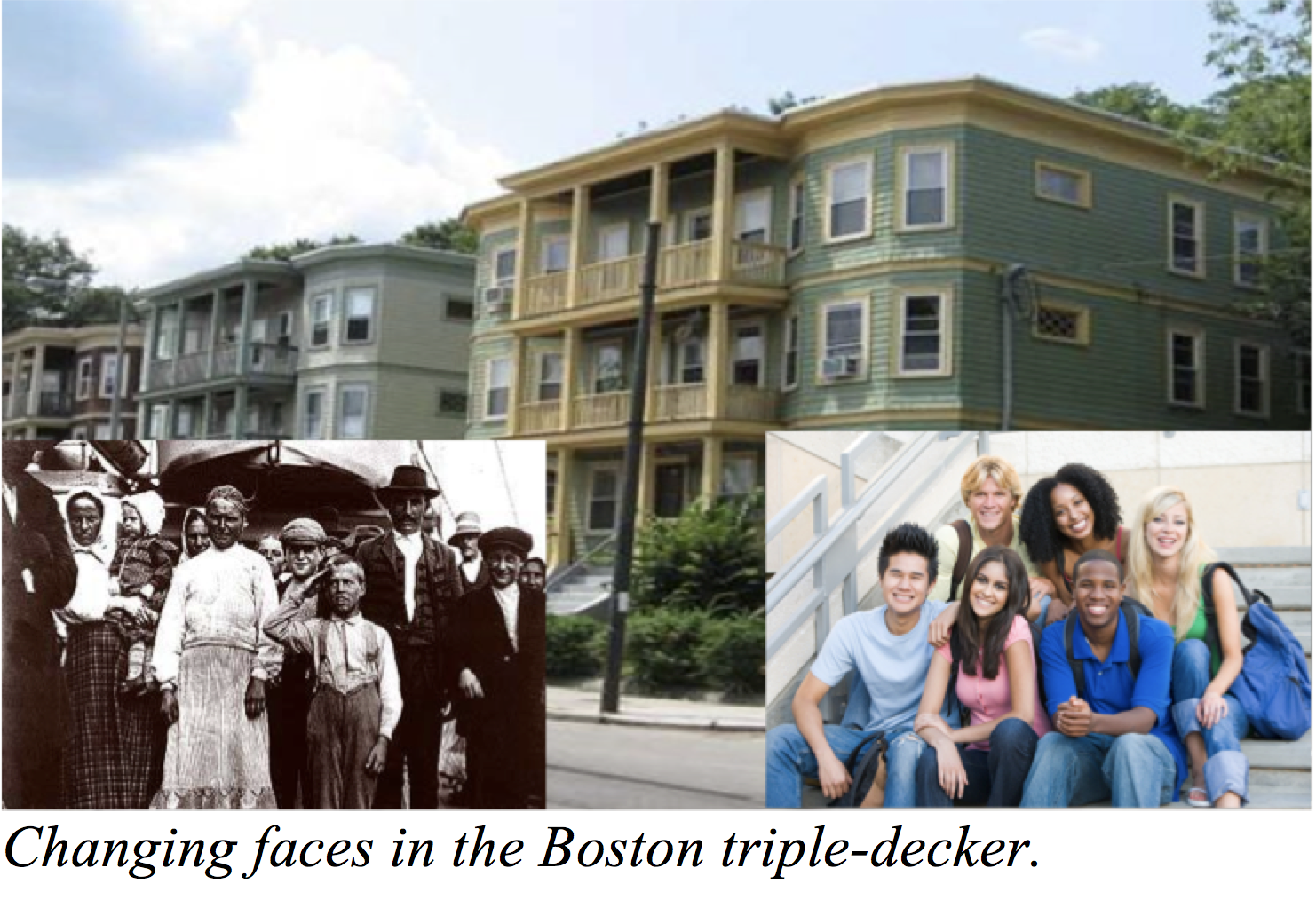Boston Triple-Decker with residents then and now