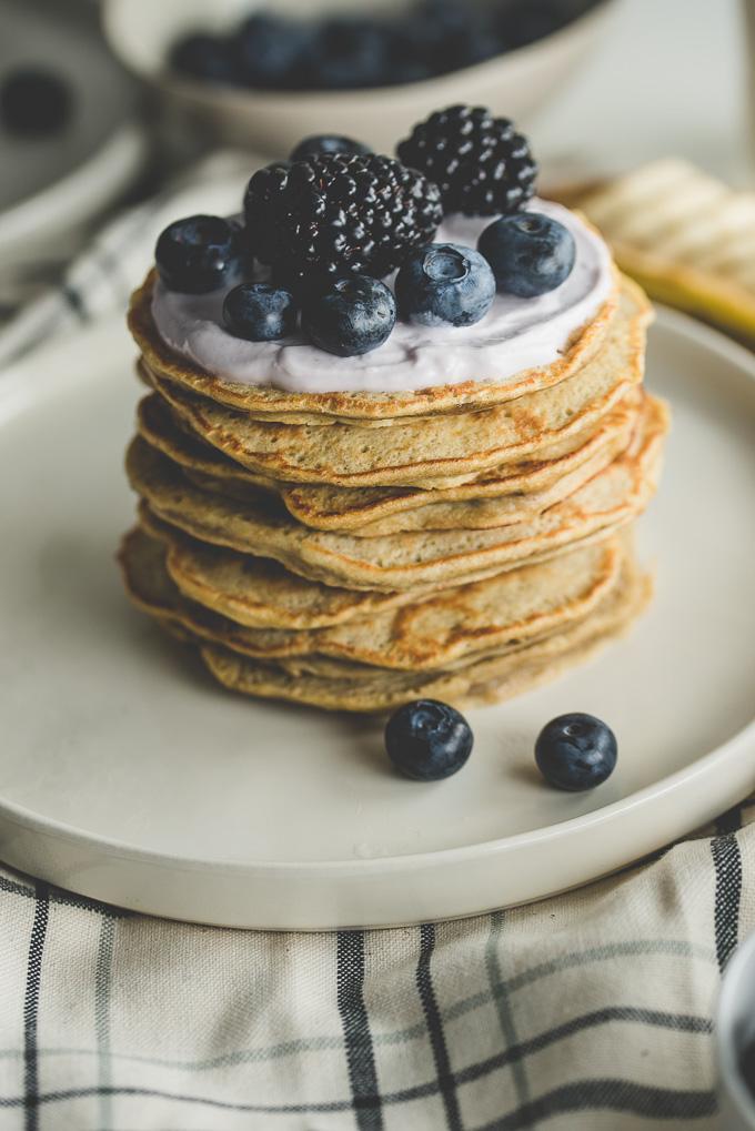 Banana Pancakes with Yogurt, Blueberries, and Blackberries