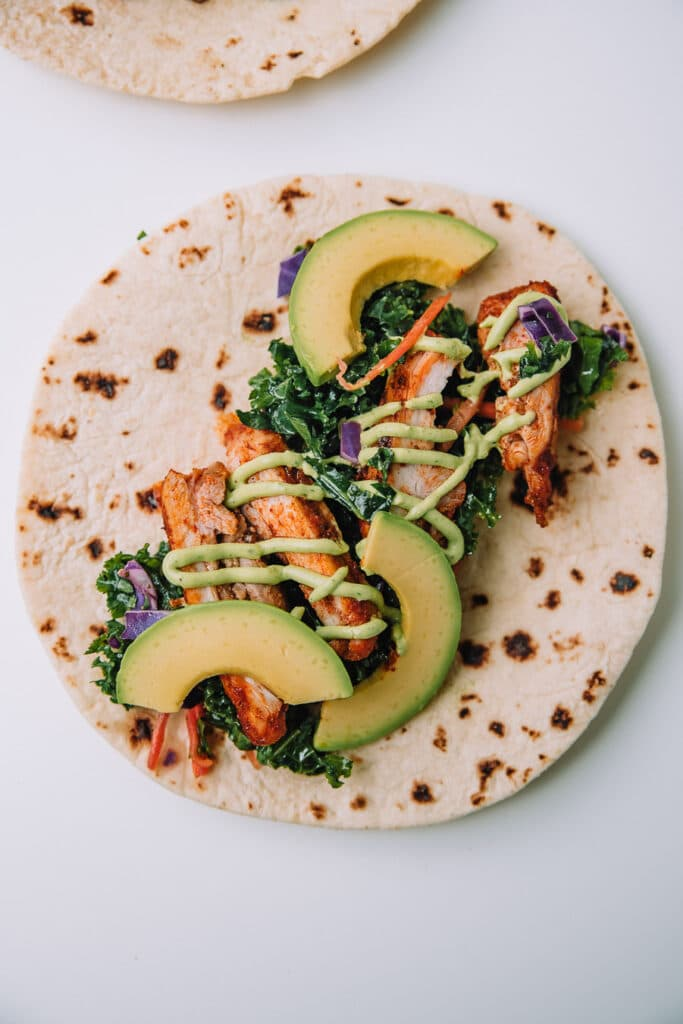 Chicken Tacos with Cilantro Lime Kale Slaw by Mash and Spread