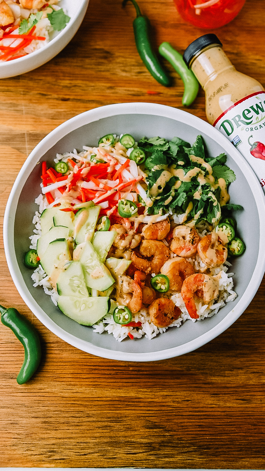Shrimp Bahn Mi Bowl made with Drew's Organics Chipotle Ranch Dressing