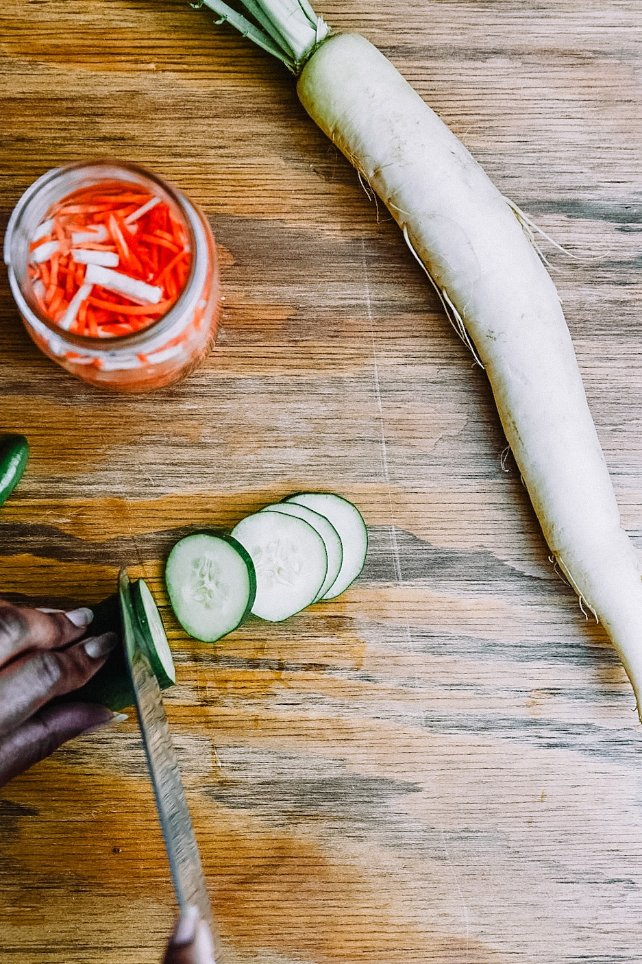 Chopping Cucumber for Shrimp Banh Mi Bowl made with Chipotle Ranch