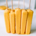 5 Mango Lassi Popsicles stack together